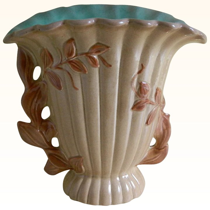 Vintage Red Wing Pottery Brown And Turquoise Vase With A Leaf Motif Lady Lavender Antiques