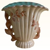 Vintage Red Wing Pottery Brown and Turquoise Vase with a Leaf Motif