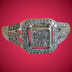 Vintage Art Deco Style 10k White Gold Ring with Diamonds, Size 7 3/4