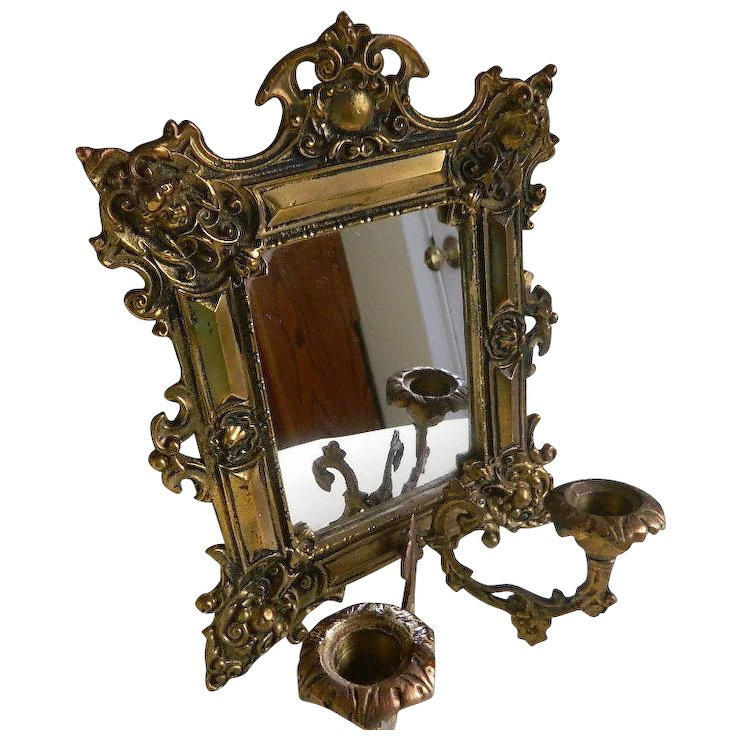 Small Wall Mirrorcandle Holder Late 1800s Early 1900s Sold