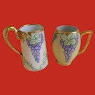 Antique Hand Painted Tankard Mugs, Set of 2