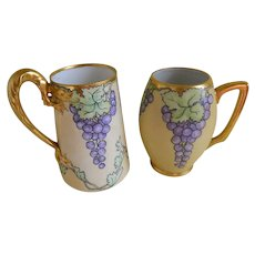 Antique Hand Painted Tankard Mugs, Set of 2