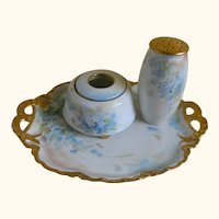 Antique Bavaria China Hand Painted, Signed, Hair Receiver and Powder Shaker and Tray