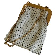 Vintage Whiting and Davis Cream Colored Mesh Purse with Gold Trim