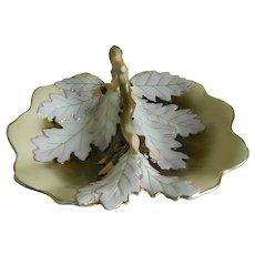 Antique Carl Tielsch Large Oak Leaf Bowl, 1850 -1899
