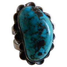 Hand Crafted Native American Turquoise and Sterling Silver Signed Ring, Size 9