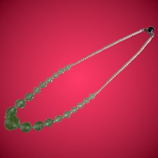 Vintage Green Crystal and Faux Pearl Necklace, 1930's