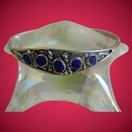 Sterling Silver Bracelet with Lapis Stone, Mexico
