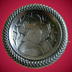 Antique Girl with Flag 800 Silver Victorian Brooch