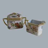 Morimura Nippon Hand Painted Creamer and Sugar Bowl, 1911 -1921
