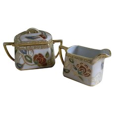 Morimura Nippon Hand Painted Creamer and Sugar Bowl, 1911 -1921