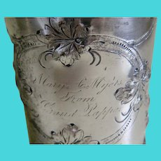Very Early Antique Rogers Bros Engraved Repousse Silver Plated Cup