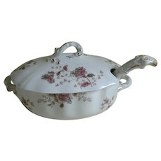 Antique Semi - Porcelain Small Soup Tureen with Ladle, England
