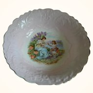French Lavender Colored Bowl with Scene, 1890's - Early 1900's
