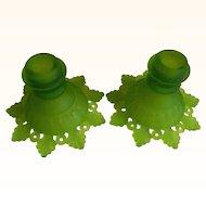 Vintage Westmoreland Glass Misty Green Candleholders