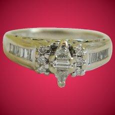 14k White Gold .23 ctw Diamond Cocktail Ring Size 7 1/2