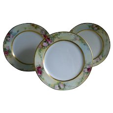 Antique Jean Pouyat Limoges Set of Three Plates, Artist Signed