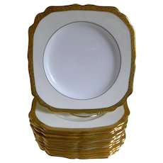 Vintage Minton England Square Gold Encrusted Plates, Set of 12