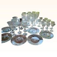 1920's Czech Cut Glass Stemware and Plates, Set of 36