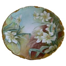 Antique T V Limoges China France Hand Painted Floral Plate, Artist Initials