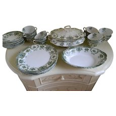 Antique 29 Piece Set Wedgwood & Co. England Semi Royal Porcelain Green Transfer Ware