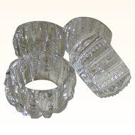 Set of 4 American Brilliant Prism Zipper Cut Salt Cellars 1872 - 1920