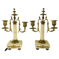 Antique French Victorian Pair of Bronze and Marble Candelabras