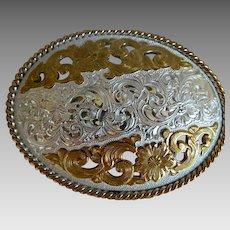 Vintage Crumrine Heavy Silver Plate Oval Flowered Belt Buckle