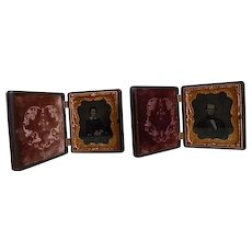 Antique Pair of Ambrotype Photographs in S. Peck Union Cases 1850's to 1860's