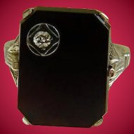 Art Deco Black Onyx with Diamond 18k White Gold Ring