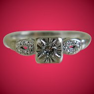 Vintage 14k White Gold Diamond Ring, 1940's