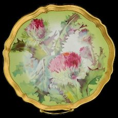 O & E G Royal Austria Hand Painted Artist signed Thistle Plate, 1898 -1918 - Red Tag Sale Item