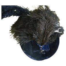 Victorian Blue Velvet Hat with Feathers