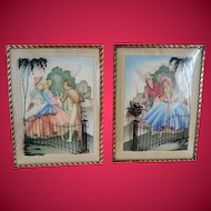 Vintage Pair of Silhouette Reverse Painted Pictures with Convex Glass