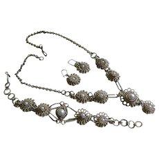 Vintage Italian 800 Silver Filigree Necklace, Bracelet, and Pierced Earrings