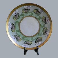 Haviland Limoges France 1918 Hand Painted Water Lilies Porcelain Wall Plaque