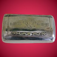 Antique Victorian Silver Plated Engraved Snuff Box