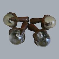 Antique Cast Iron Claw Feet with a Clear Glass Ball, Set of 4