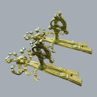 1920's Pair of Gilt Metal Curtain Tie Backs