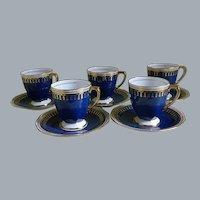 Vintage Spode Copeland Demitasse Cups and Saucers, set of 5