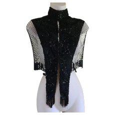 Victorian Black Beaded Capelet or Cape with Stand Up Collar