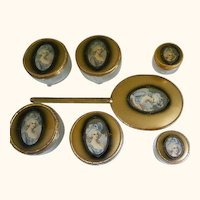 Antique Oval Hand Mirror and Dresser Jars