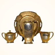 Vintage 24 Carat Gold Encrusted and Platinum Arzberg, Bavaria Coffee Serving Set