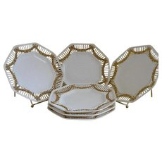 Vintage German Octagonal Plates, Set of 6
