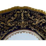 Antique Rare Royal Doulton, Herbert Betteley, Intricate  Gold Encrusted Raised Pattern against Cobalt Blue Plates. Set of 4