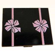 Vintage Black and Pink Enamel Elgin American Compact, 1950's