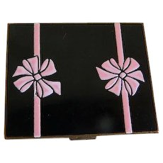 Vintage Black and Pink Enamel Elgin American Compact, 1950's