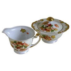 Vintage Meito China Hand Painted Autumn Leaves Creamer and Sugar Bowl with Lid, Japan