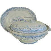 Antique 1877 Large Transfer Ware Soup Tureen with Under Plate