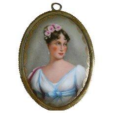 Antique French 19th Century Enamel Portrait of Marie Louise of Austria, Empress of France, Framed Porcelain Plaque